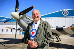 RAF veteran in front of plane