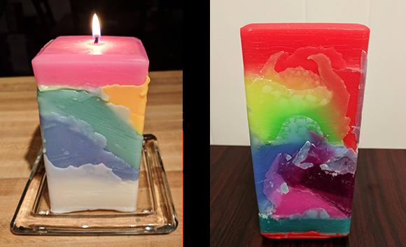 Rainbow Tie-Dye Candle